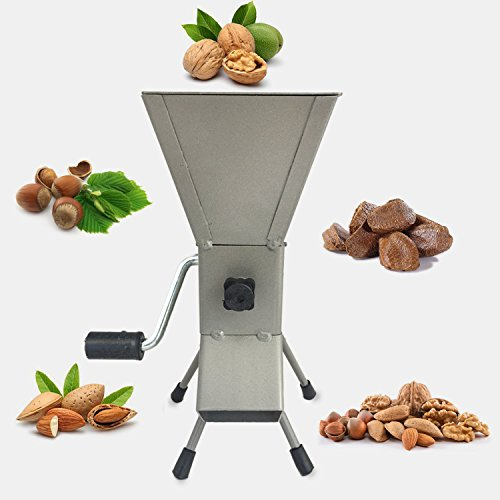 Hand Crank Nutcracker Tool for Hazelnuts, Almonds, Filbert Nuts, Brazil Nuts, Pistachios, English Walnuts and Soft Shell Pecans. All Steel Nut Cracker Machine - Portable - Adjustable! (GRAY)