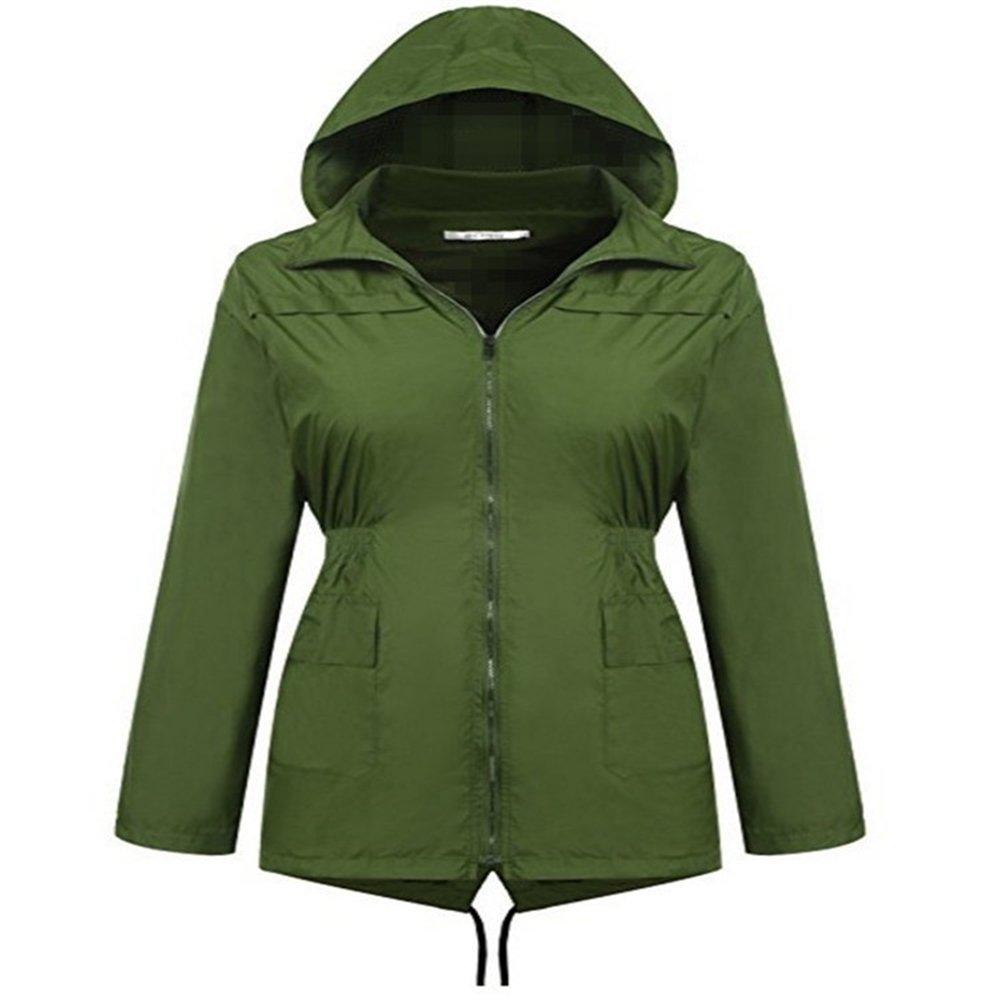 Aihifly tragbar Armee-Grün-Trenchcoat-Regenmantel-im Freien windundurchlässiger flutsicherer Regenmantel Frau Long Sleeve Hooded-Regenmantel (Größe   M)