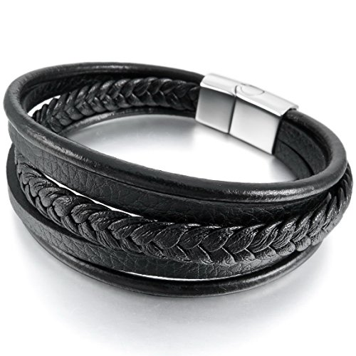 INBLUE Men's Stainless Steel Genuine Leather Bracelet Bangle Cuff Black Silver Tone Braided Magnetic Clasp