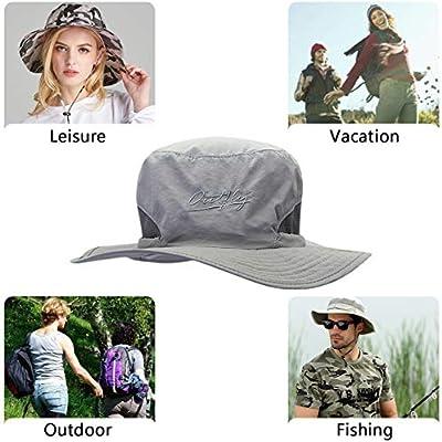 DORRISO Sun Hat Unisex Wide Brimmed Bucket Hat UV Protection Bush Hat Foldable Vacation Traveling Safari Boonie Hat Waterproof Polyester Fisherman Cap
