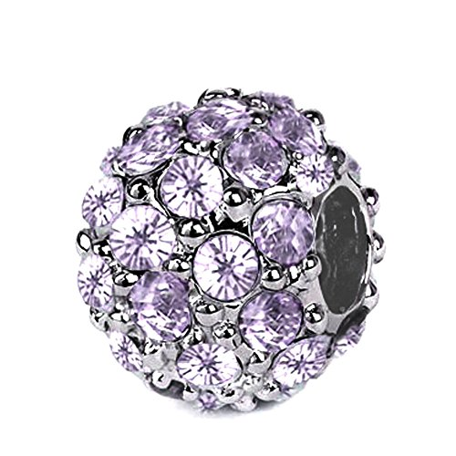 - Sterling Silver Roundel Charm with Lavender Swarovski Crystal, Fits Pandora, Jovana Bracelet, This Swarovski Crystal Ball Charm Is Not the Cheap Crystal Sticked on the Ceramic Mud , on Our Charm, All the Crystals Prong Set on the Sterling Silver