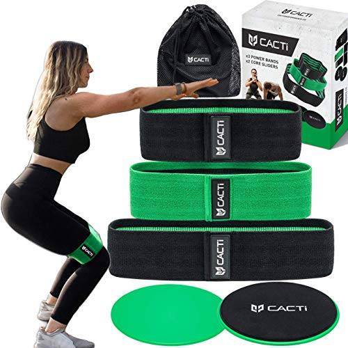 Fabric Resistance Bands & Core Sliders Exercise Set - 3 Booty Bands & 2 Strength Slides for Legs, Butt, Hips, Glutes, Abs, Shoulders & Arms - Non Slip & Non-Rolling