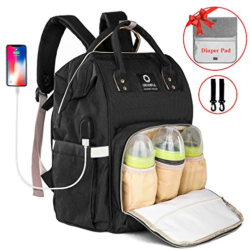 ORANIFUL Diaper Bag Backpack for Mom Waterproof Baby Nappy Bags Insulated Bottle Pockets Large Multi-Functional Travel Back Pack Built-in USB Charging Port with Changing Pad & Stroller Straps (Black) ()