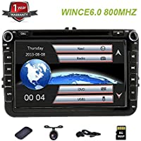 8 HD Car DVD Player Nav GPS Stereo Radio Car Stereo with Bluetooth and Navigation for VW Jetta Passat Tiguan Golf GPS DVD Radio Navigation Car with Free Map and Free Car Anti Slip Mat
