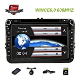 8'' HD Car DVD Player Nav GPS Stereo Radio Car Stereo with Bluetooth and Navigation for VW Jetta Passat Tiguan Golf GPS DVD Radio Navigation Car with Free Map and Free Car Anti Slip Mat