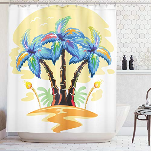 Ambesonne Palm Tree Decor Shower Curtain, Cartoon Tropical Island with Hawaiian Palm Trees Torch Seagulls at Sunset, Fabric Bathroom Decor Set with Hooks, 75 Inches Long, Blue Orange