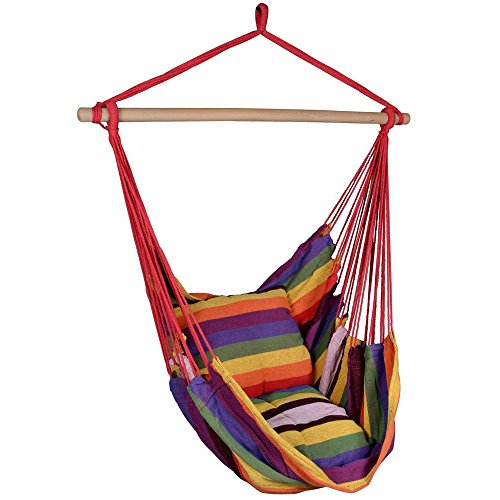 TF-Godung Portable Red Deluxe Hammock Rope Chair Patio Porch Yard Tree Hanging Air Swing Outdoor by TF-Godung