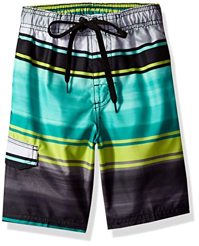 Kanu Surf Big Boys' Barracuda Quick Dry Beach Swim Trunk, Avalon Black/Green, Small (8) ()