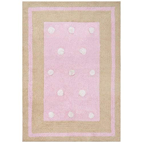 - Carousel Border Dots Rug, 30-Inch by 50-Inch, Pink
