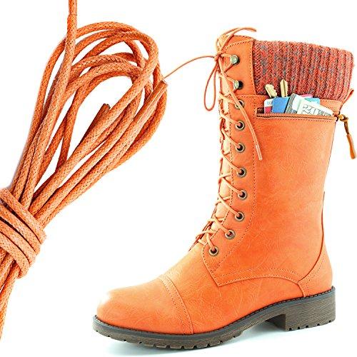 Dailyshoes Womens Combat Stijl Lace Up Enkellaarsje Ronde Neus Militaire Knit Creditcard Mes Geld Portemonnee Pocket Laarzen, Oranje Oranje Pu