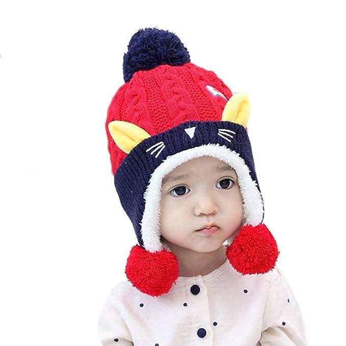 Hiroo Bambini Ragazze Ragazzi Inverno Cartone Animato Orecchie di Gatto a  Maglia Tenere Caldo Cappello Uncinetto dd4fd0b87334