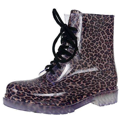 Laessige Martens 8 Eye Schnuerschuhe Regen Stiefel Schuhe der NEUEN Frauen -Assorted Farben Kleiner Leopard