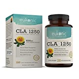 CLA 1250 mg by Eukonic | 180 Softgels | Natural Diet Pills for Increased Weight Loss and as a Fat Burner | 100% Safflower Oil | Lose Weight Faster! | Non-GMO | 3rd Party Tested