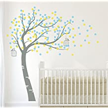 Design Divils Mid Grey, Mid Yellow and Light Blue Supreme Bursting Blossom Tree with Birds and Cages. Vinyl Matte Wall Decal Sticker DD006