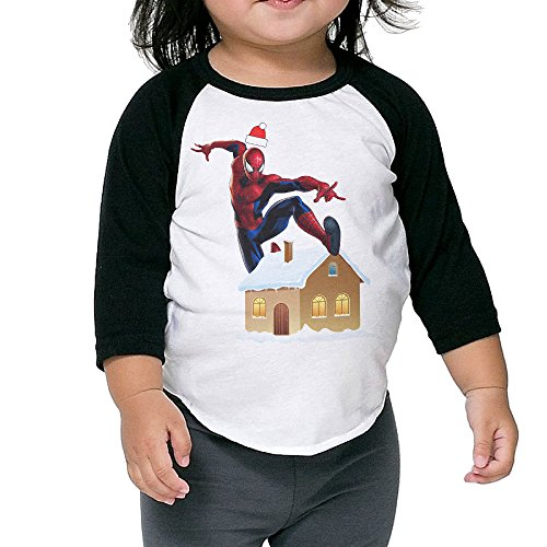 Gary Boy Girl Baseball Raglan Spider-Man Christmas Tee Black 5-6 Toddler