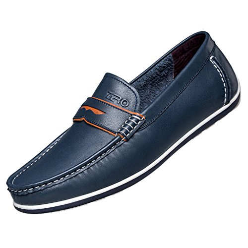 [ZRO Men's Modern Penny Loafer Drive Classic Slip-on BLUE US 9.5] (Dress Loafer Beef Roll)