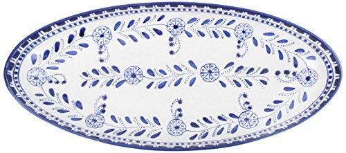Le Souk Ceramique AZ12 Stoneware Extra Large Oval Platter, Azoura (Blue Large Oval Platter)