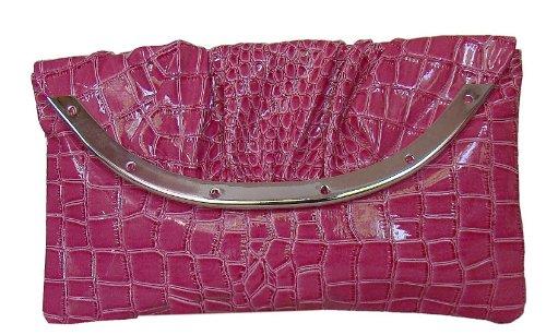 Damen XL Abendtasche Partytasche Unterarmtasche Lacklederoptik m.Kroko.Präg Pink 28x16 cm,