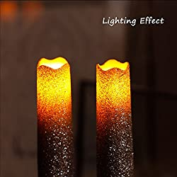 9 Inches Melted Led Taper Candles with Timer,Batte