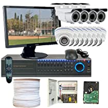 GW Security Inc GWV-12CHH4 Professional DVR 22-Inch LED Monitor 1080P HDSDI 2.8 to 12MM 700TVL Waterproof All Complete CCTV Security Camera System