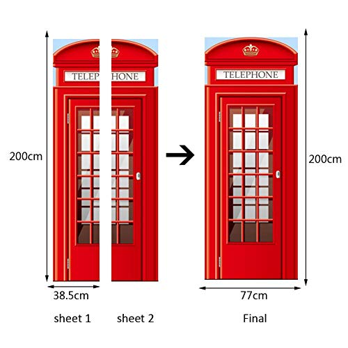 LXDWS 3D Phone Booth Vinyl Wall Stickers Removable Dormitory Bedroom Living Room Art Door Stickers Home ()