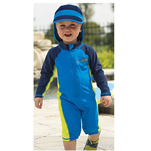 Sun Smarties Toddler Boys UPF 50+ Sun Protection Shark Surf Suit Sunsuit 4T Blue by One Step Ahead (Image #1)