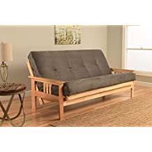 Delightful Kodiak Furniture KFMONTSGRYLF5MD3 Monterey Futon Set With Natural Finish,  Full, Suede Gray