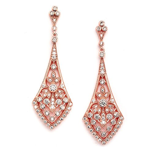 Mariell Zirconia Crystal Rose Gold Wedding Chandelier Earrings for Women, Jewelry for Bride, ()