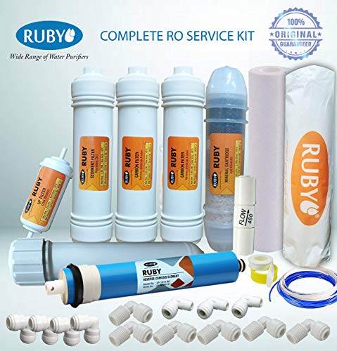 Ruby Complete 1 year RO Service kit suitable for All Water Purifiers (Sediment Pre-Filter + Sediment Filter+ Carbon Filter+RO Membrane with Housing+ UF Filter+Mineral Cartridge+Connector +Teflon Tape)