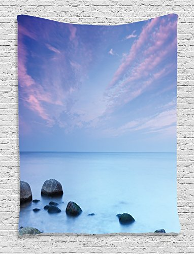 Ambesonne Seaside Decor Collection, Baltic Sea Coast Autumn Sunset Evening View Boulders on Water Tourism Picture, Bedroom Living Room Dorm Wall Hanging Tapestry, Blue Teal