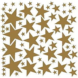 Attractive 68 Star Stickers Removable Star Wall Decals, Gold Part 17