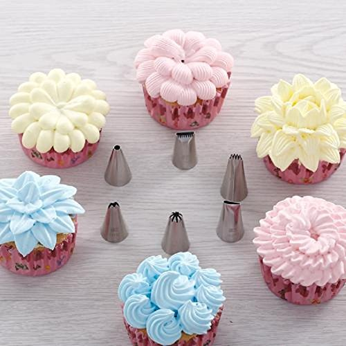 LKE 38 Pieces Cake Decorating Supplies Kit with 32 Icing Tips, 2 Silicone Pastry Bags, 2 Flower Nails, 2 Reusable Plastic Couplers Baking Supplies Frosting Tools Set for Cupcakes Cookies by LKE (Image #8)