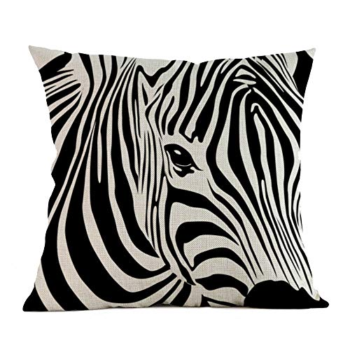 MaxFox Zebra Printed Throw Pillow Cover Square Linen Blend Pillow Case Cushion for Office Home Room Car Decor ()