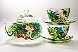 Tea Set for Women Teapot with 2 Cups and Saucers Hand Painted Teapot Glass Personalized