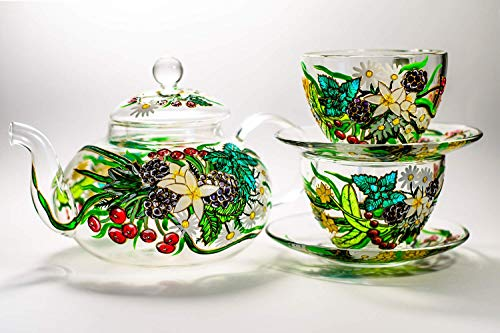 Tea Set for Women Teapot with 2 Cups and Saucers Hand Painted Teapot Glass Personalized by vitraaze