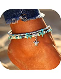 Starfish Turtle Anklets for Women Multiple Layered Boho...