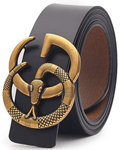 US Fast Deliver 2-7 Days FBA Guarantee~Snake Gold Buckle Leather Belt Unisex Men Women Lady Belt~3.8cm Belt Width (110cm (Waist 32