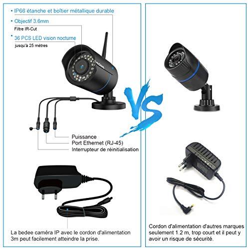 IP Camera Exterieur, Camera de Surveillance Exterieur WiFi sans Fil, HD 1080P Etanchéité IP66, Visibilité Nocturne à 25m, Détection de Mouvements pour Extérieur, Max la Carte SD jusqu'à 128G