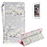 Funyye Folio Wallet Case for iPhone 6 Plus/6S Plus,Stylish 3D White Flower Fantasy Painted Design Strap Magnetic Flip Case with Stand Credit Card Holder Slots Soft Silicone PU Leather Case for iPhone 6 Plus/6S Plus 5.5 inch,Full Body Shockproof Non Slip Smart Durable Shell Protective Case with Screen Protector
