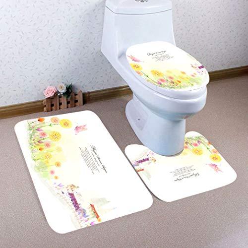 Dal-Msee 3 pcs Bathroom Non-Slip Carpets with Pedestal Rugs Lid Toilet Cover Shower Mat Set Machine-Washable Mats