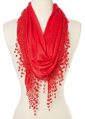 Triangle Silk Scarf - Cindy & Wendy Lightweight Triangle Floral Fashion Lace Fringe Scarf Wrap for Women (SSLS-Red)
