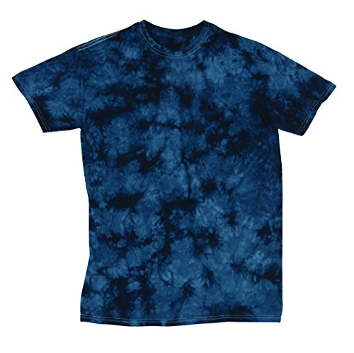 Pattern Tie Dye T-shirt (Faded Crystal Scattered Pattern Design Unisex Adult Tie Dye T-Shirt Tee, Navy, Large)