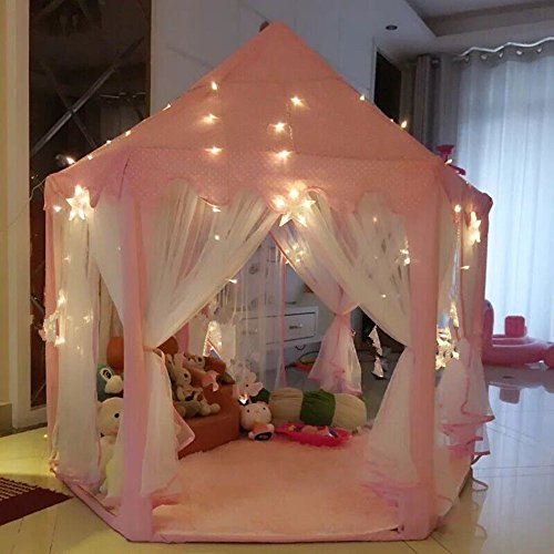 Best Price! AuTop Large Indoor and Outdoor Kids Play House Pink Hexagon Princess Castle Kids Play Te...