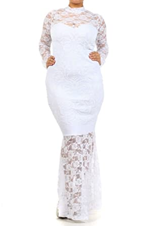 SkyFashion Womens Long Black Lace Glam Gown (3XL, ...