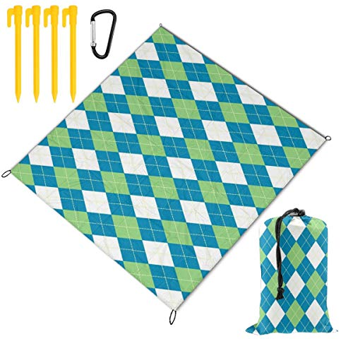 Rachel Dora Outdoor Waterproof Camping Blankets Lightweight Oversized Sandproof Durable Beach Mat for Picnic,Travel,Yoga,Hiking,Argyle Pattern Blue Green Printing Blanket with Pockets 67 x 57 inch (Dora Travel Potty Seat)