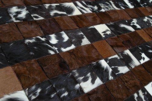 Tapis fait à la main cuir de vachette, patchwork tapis, cheveux sur moquette, Tapis en cuir 15,2x 10,2cm kpr-150026