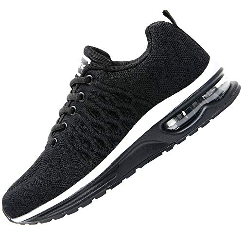 JARLIF Women's Breathable Running Shoes Fashion Athletic Sport Gym Jogging Walking Air Tennis Sneakers Black US 8 B(M) (Best Walking Jogging Shoes For Women)