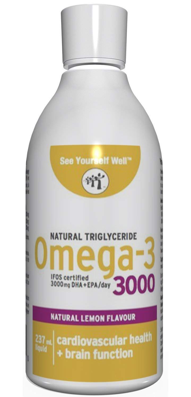 See Yourself Well Natural TG Omega-3 3000 Fish Oil Liquid, 237ml / 8oz, Lemon