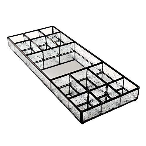 J Devlin TRA 132 Large Glass Tray Jewelry Storage Vanity Organizer Dresser Tray - Tray Stained Art Glass