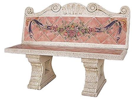 Panca con schienale per giardino o esterni di pietra rustico con